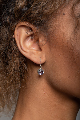 Amethyst Dot Edge Silver Earrings