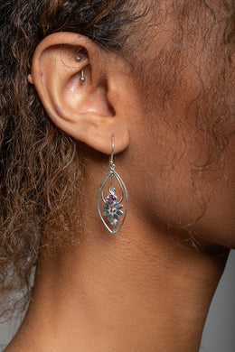 Amethyst Floral Swirl Silver Earrings