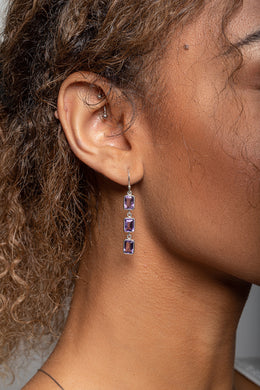 Three Stone Amethyst Drop Silver Earrings