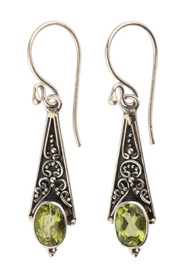 Peridot Drop Detailed Silver Earrings