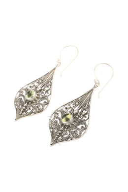 Statement Peridot Filigree Silver Earrings