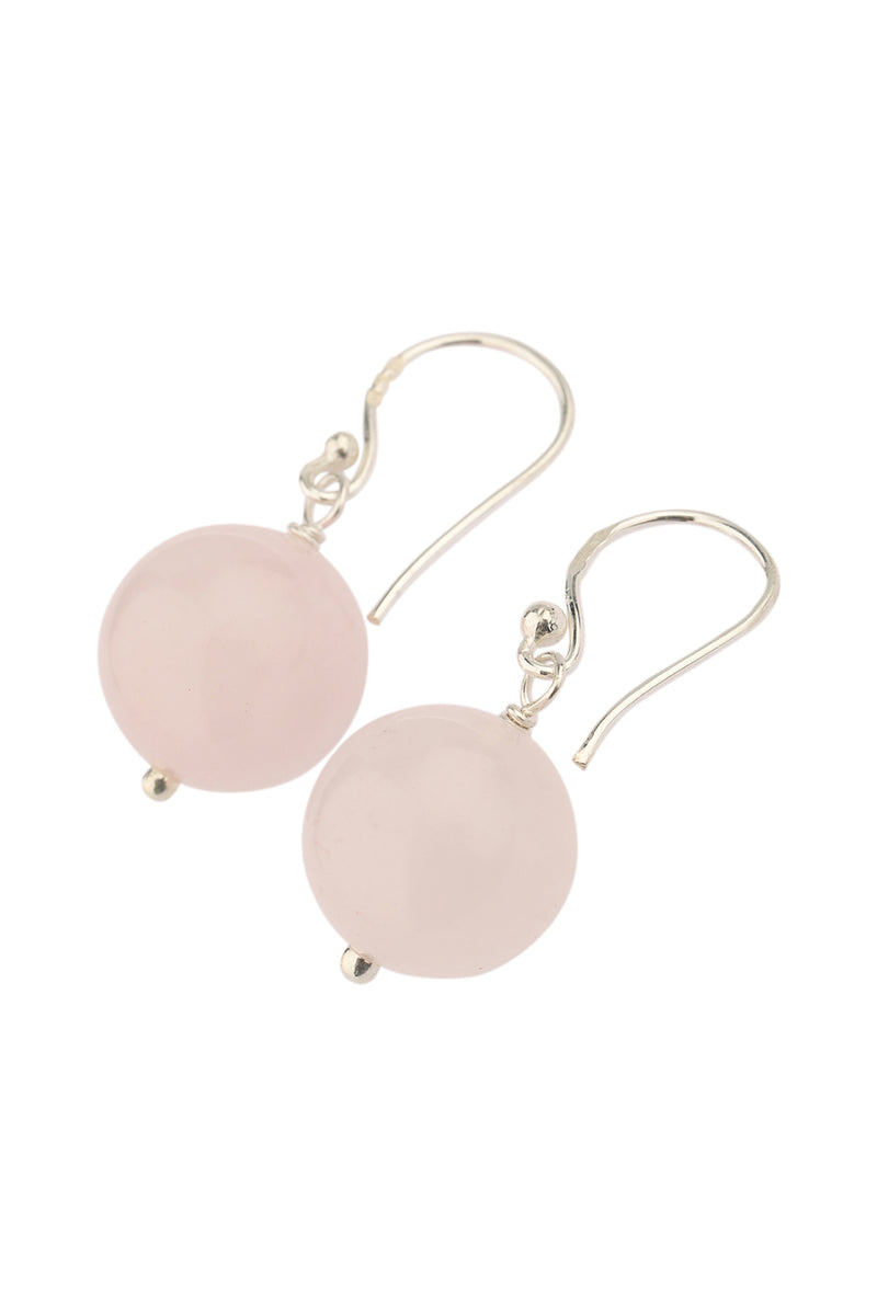 Round Bead Rose Quartz Drop Silver Earrings