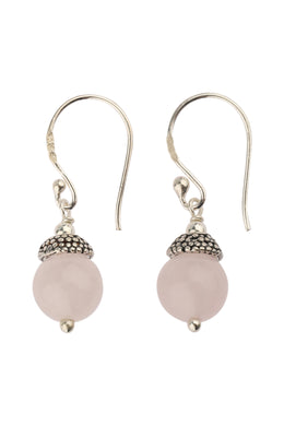 Rose Quartz Mini Bead Cap Silver Earrings
