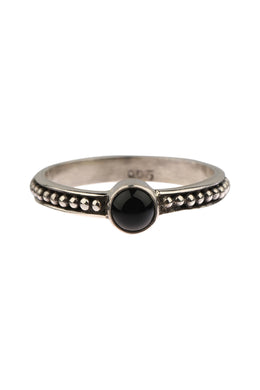 Fine Onyx Dot Band Silver Ring
