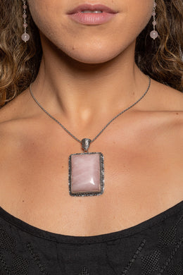 Large Ornate Rose Quartz Silver Pendant