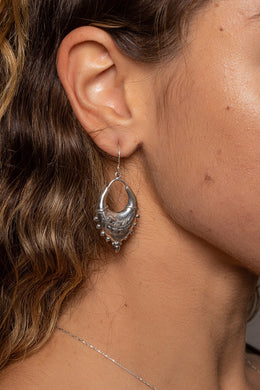 Tribal Feather Statement Silver Earrings