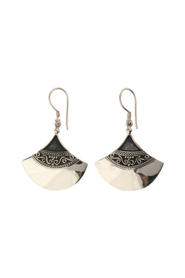 Tribal Fan Silver Earrings