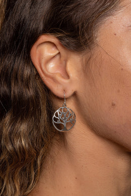 Round Tree of Life Silver Earrings