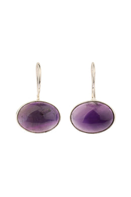Oval Amethyst Hook Silver Earrings
