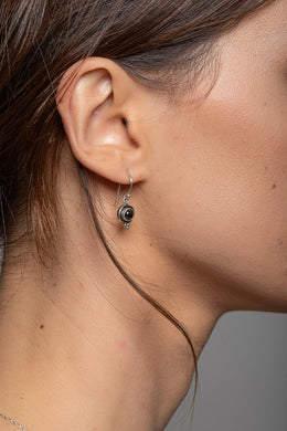 Mini Onyx Droplet Silver Earrings