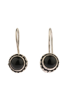 Mini Onyx Hook Silver Earrings
