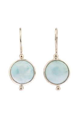 Larimar Hook Silver Earrings