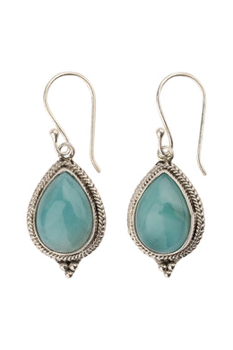 Larimar Teardrop Tribal Edge Silver Earrings