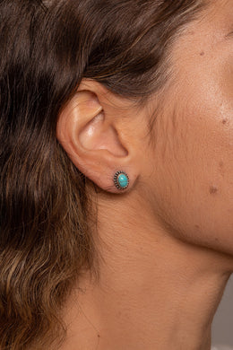 Oval Turquoise Dotted Edge Silver Stud Earrings