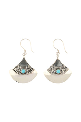 Turquoise Tribal Fan Silver Earrings