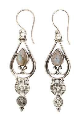 Labradorite Swirling Teardrop Silver Earrings