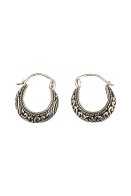 Mini Basket Filigree Hoop Silver Earrings