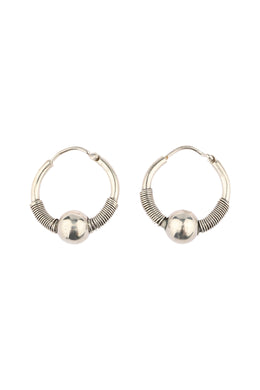 Bead Wrapped Hoop Silver Earrings