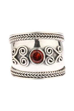 Roped Edge Garnet Heart Swirl Silver Ring