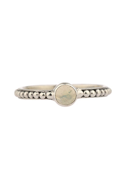 Round Opal Fine Dot Band Silver Ring