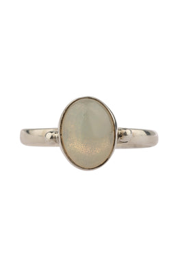 Simple Opal Narrow Band Silver Ring