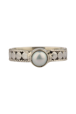 Freshwater Pearl High Shine Dot Silver Ring