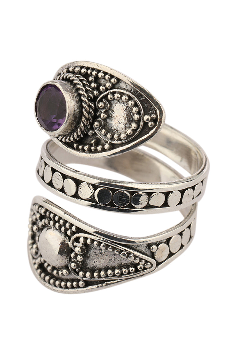 Amethyst Tribal Wrap Silver Ring