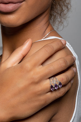 Three Stone Amethyst Filigree Silver Ring