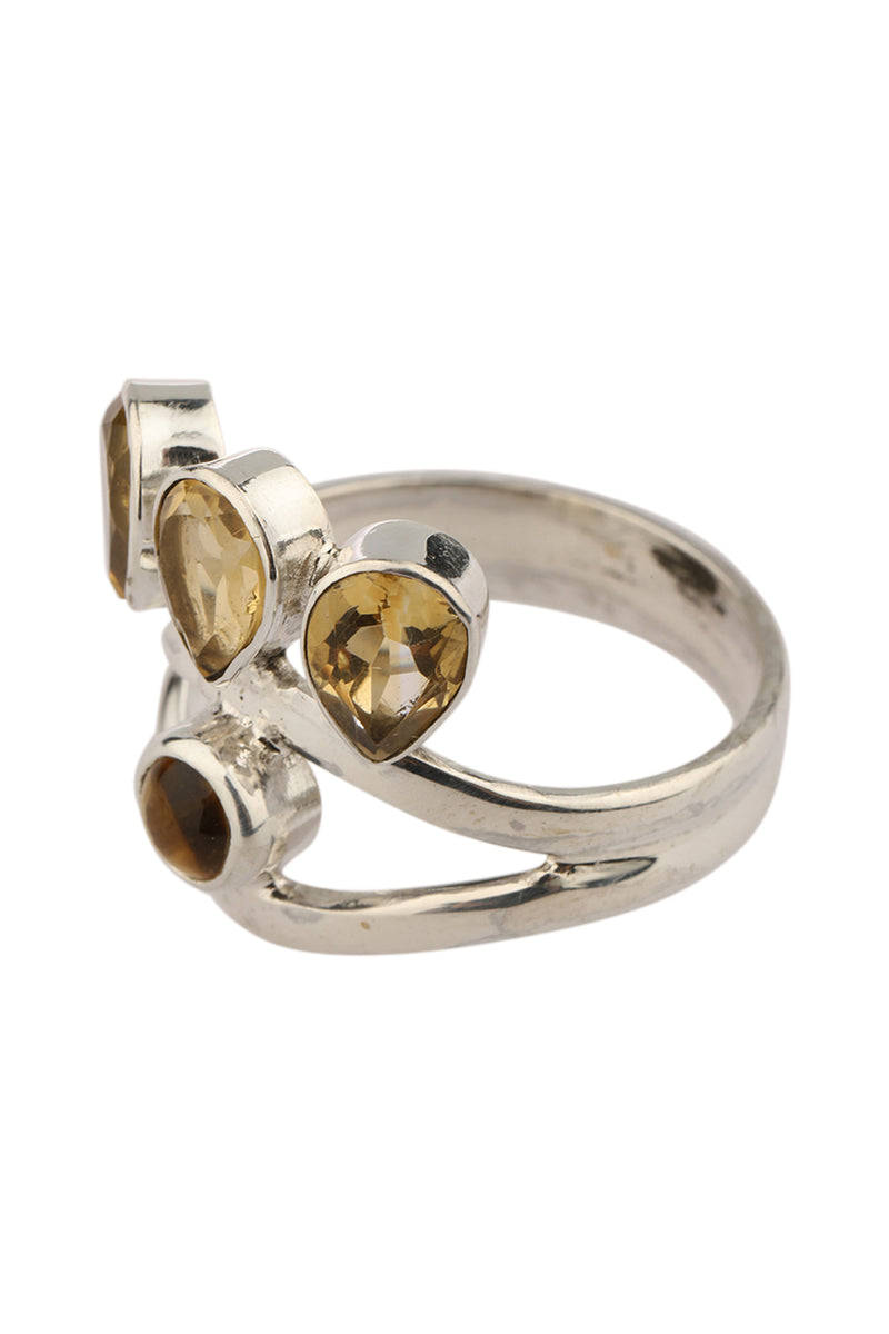 Four Stone Citrine Silver Ring