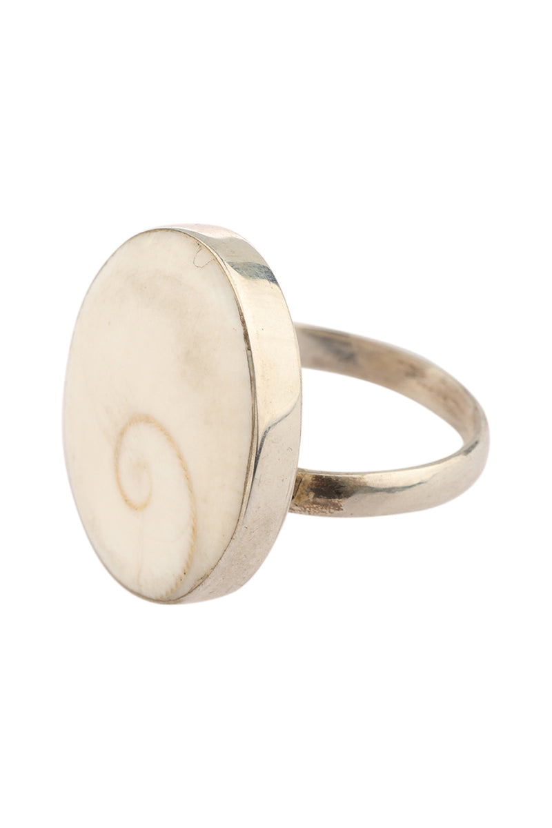 Simple Shiva Shell Silver Ring