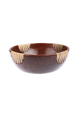 Medium Lombok Terracotta & Rattan Dessert Bowl