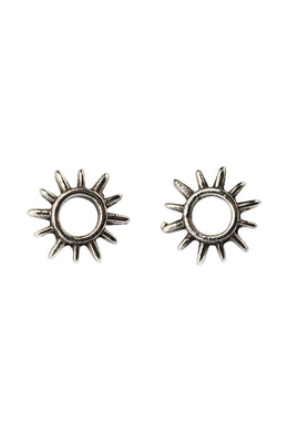 Open Sun Rays Silver Stud Earrings
