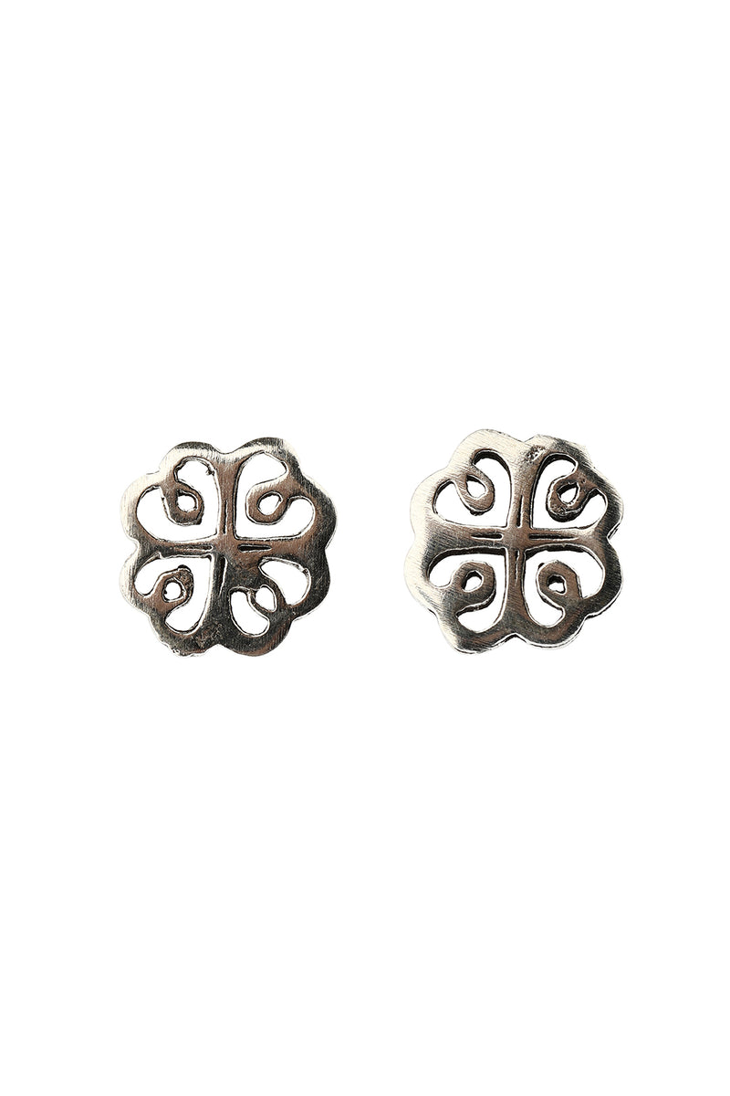 Clover Swirl Silver Stud Earrings