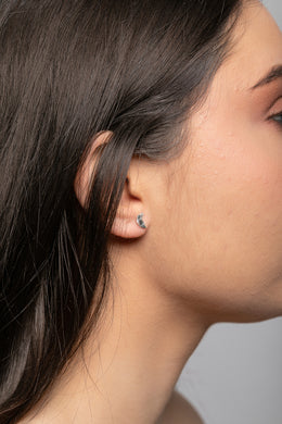 Pebbled Silver Crescent Moon Stud Earrings