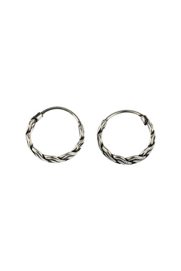 Woven Silver Sleeper Earrings