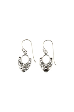 Mini Shield Silver Filigree Droplet Earrings
