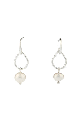 Swinging Teardrop Freshwater Pearl Hoop Earrings