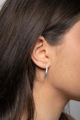 Brushed Silver Thread Earrings