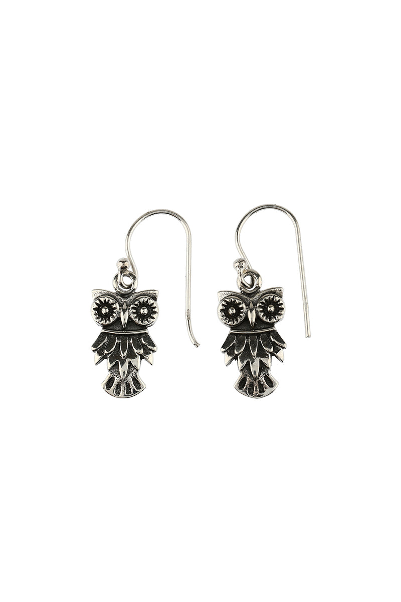 Silver Owl Droplet Earrings