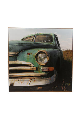 Vintage Green Truck Framed Canvas Print