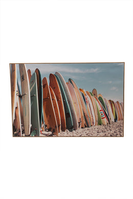Vintage Surfboards Framed Canvas Print