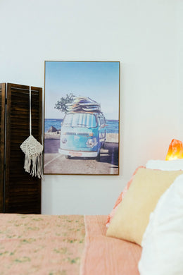 VW with Surfboards Framed Canvas Print