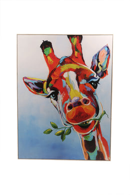 Colourful Giraffe Framed Canvas Print