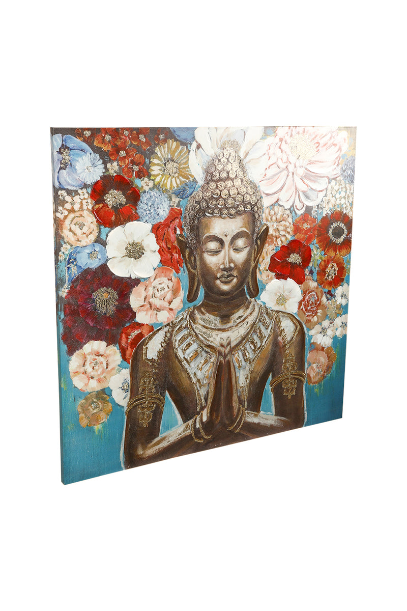 Buddha with Flowers Canvas Print