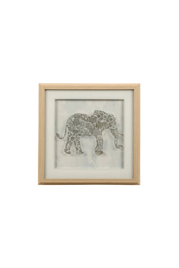 Framed Gold Elephant Etching Print