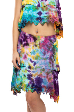 Tiered Lace Tie Dye Skirt