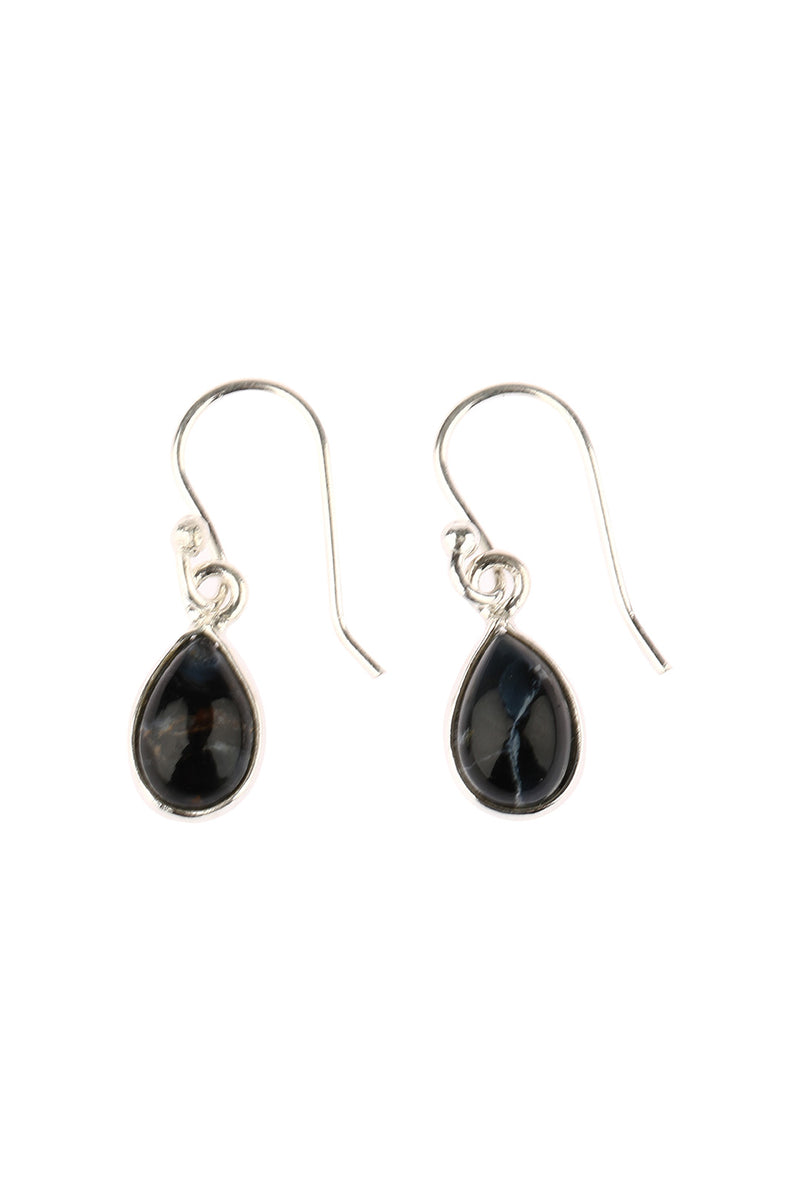 Pietersite Cabochon Teardrop Earrings