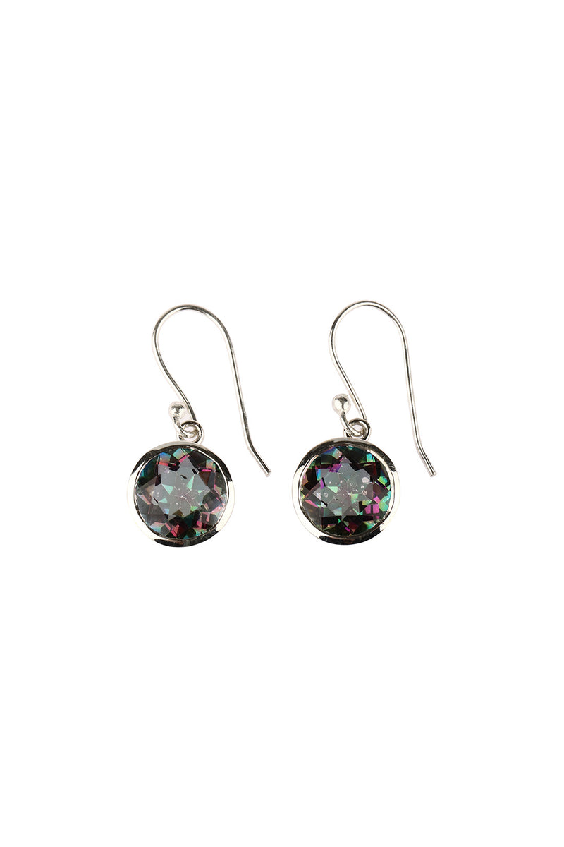 Mystic Topaz Round Droplet Earrings