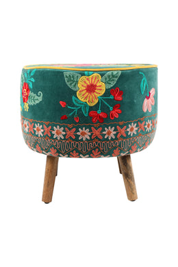 Jardin Boho Embroidered Stool