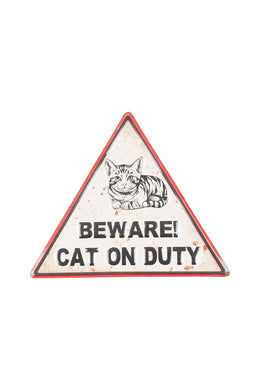 Beware the Cat Iron Wall Hanging